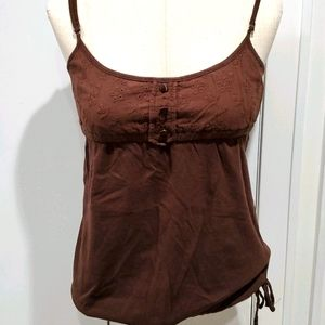 Blu Chic Spaghetti Straps Brown Top